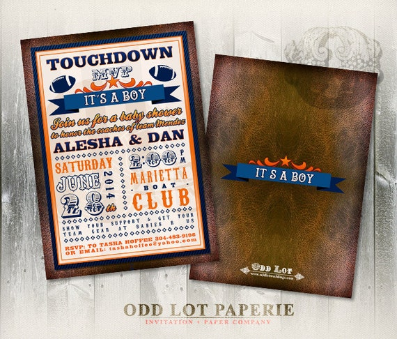 football baby shower invitation boy baby shower invite football