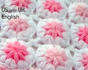 """Crochet Baby Blanket Pattern. """"Flowers in the clouds"""" Puff flower blanket, Crochet flower pattern"""