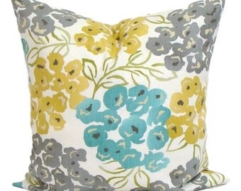 Teal YELLOW Pillow Cover, Gray Pillow, Pillow, Floral Pillow, Decorative Pillow, Gold, Gray, Blue .All Sizes, Cushion, Euro, Floral Cushion