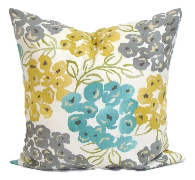 teal yellow pillow cover gray pillow pillow floral pillow decorative pillow - Gold Decorative Pillows