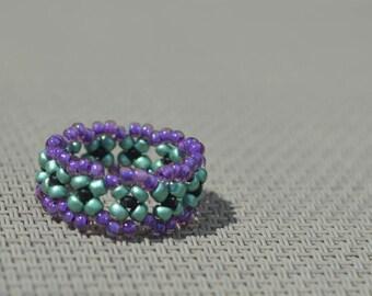 Joker Beaded Band Ring Purple Metallic Green and Black Halloween Gothic Women's Jewelry Gift Ideas