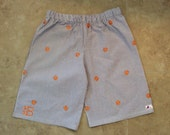 CLEMSON BOYS SHORTS...new! Purple seersucker with orange embroidered tiger paws! Sizes 6 months to 6 years.