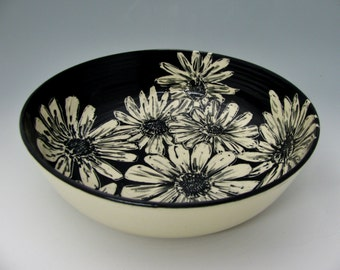 Botanical Daisy Bowl: Black and White Painted and Carved Ceramic Serving Piece, Floral Design, Heirloom-Quality Functional Art Pottery