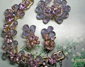 D&E aka Juliana Pink and Purple Art Glass Demi Parure  Item 15409