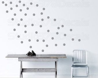 Silver Polka Dots - Modern Decor -  Metallic Silver Circles Trend Decor - Nursery Wall Decals - Office Wall Decor - Vinyl Wall Stickers