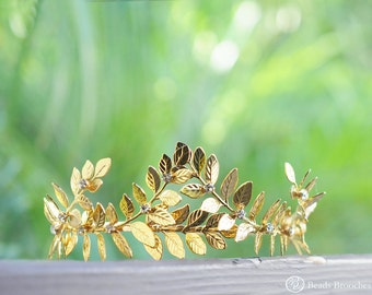Gold Leaf Tiara, Gold Plated Leaves Headbadn, Grecian Laurel Headband, Gold Wedding Leaf Tiara, Woodland Wedding Hair Accessory, Gold Tiara