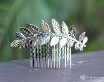Large Silver Leaf Hair Comb,Silver Hair Comb,Leaf Hair Comb,Wedding Hair Comb,Bridal Hair Comb,Grecian Hair, Silver Plated Hair Comb