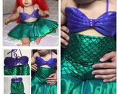 BABY CLARA- mermaid outfit for babies, toddlers and Girls, mermaid costume, ariel costumes, shell top, The Little Mermaid Baby Outfit