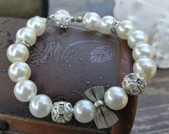 Wedding Ivory Pearl Bracelets, Bridal Jewelry with Bowtie and Swarovski
