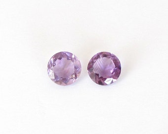 Natural Purple Amethyst, Unheated, Round Cut, Lot (2) of 6.34 carats