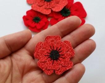 Small Glitter Poppy Brooch, Christmas Flower Brooch, Remembrance Day Poppy Appeal Brooch, Felt Flower Pin