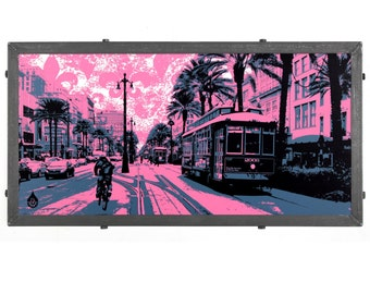 New Orleans Framed Silkscreen , Canal Street Blues, LA