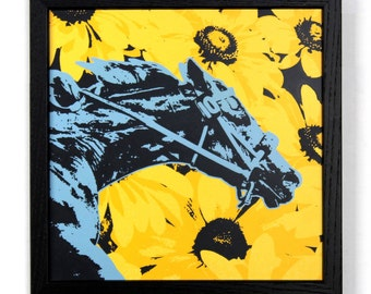 Racehorse with Black Eyed Susans, Framed Silkscreen Print