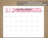 APRIL DUE DATE Guess Baby's Birthday - Calendar Game - 2016 - Pink and Blue