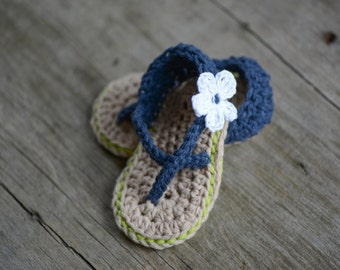 Seattle Seahawks Crocheted Baby Sandals for ages 9-12 months boy or girl
