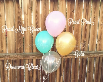 "8 11"" Balloons Mix in Pink, Mint & Gold.  Party Decorations.  Latex Party Balloons. Baby Shower, Birthday Party or Wedding Decor"