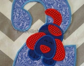 Blue and red puppy with blue pattern birthday number 2 - iron embroidered fabric applique patch embellishment- ready to ship