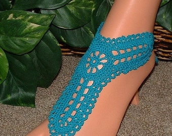 Barefoot Sandals. Foot Jewelry Anklet. Foot Thong. Beach Leg Foot Jewelry. Barefoot Beachwear. Women Barefoot Wedding Sandals. Crocheted