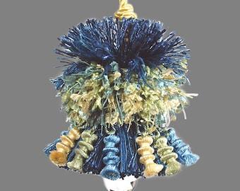 Blue Green and Yellow Accent Tassel - Blue Home Decor Tassel - Designer Tassel - Decorator Tassel - Drapery Tassel - Ornamental Tassel
