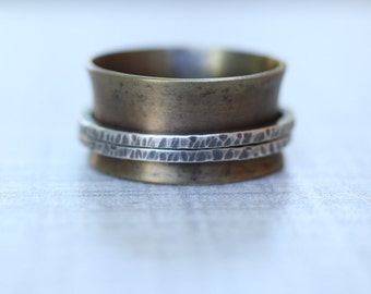 Brass and Silver Spinner Ring, Worry Ring, Man Ring, Wide Band Ring, Size 11 Ring
