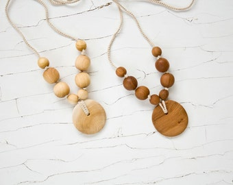 Simple Nursing Necklace with Pendant - Apple Wood, Juniper Wood - Baby Teether, New Mom Necklace - NP26, NP27