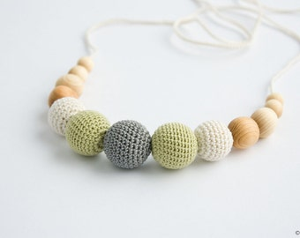 Petite Teething / Babywearing / Breastfeeding Necklace, Baby Teether, Juniper, Neutral Colors, Gray Pistachio - FrejaToys