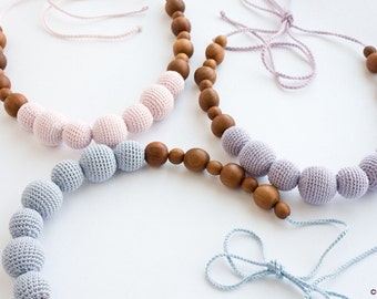 Breastfeeding Necklace in Solid Pastel Colors of your choise- gray, pink, purple - FrejaToys