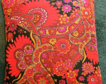 Vintage Velveteen Paisley Decorative Pillow with Wow
