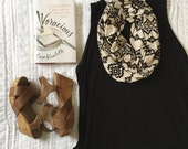 Infinity Scarf: Black & Cream Aztec Jersey