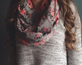 Infinity Scarf: Gray Floral Jersey