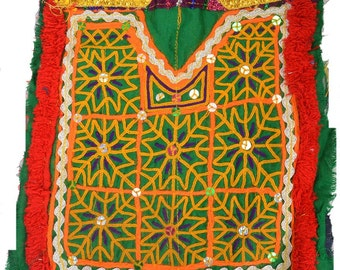 VINTAGE Banjara Neck Yoke Hand Embroidered Applique Patch sewing textile AB67