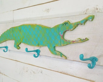 alligator towel hook wooden kids bathroom hook coathook cottage decor