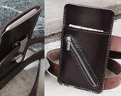 iPhone6/ iPhone6s/ Mini Soil brown genuine cow leather phone wallet/ cross mini zip