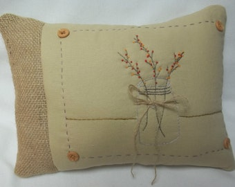 Bittersweet In Mason Jar Embroidered Mini Pillow Make To Order