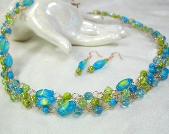 Bright Blue and Lime Crocheted Wire Necklace Set, Beaded Crochet Necklace, handmade bead jewelry
