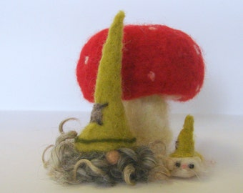 Needle Felted Gnome in a Green Hat with cat. Felted Tomte.  Wool Nisse