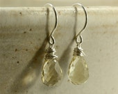 Golden Quartz Earrings, Drop Earrings, Faceted Quartz Earrings, Wire Wrapped Earrings, Sterling Silver Earrings