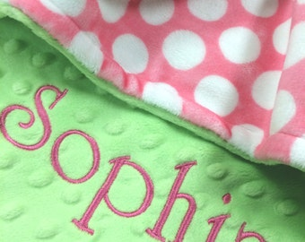Pet Blanket Pink Polkadot with Lime Dot Minky, Personalized Pet Blanket, Personalized Polka dot Dog Blanket