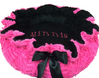 XL Dog Bed, Pet Bed, Personalized Dog Bed, Pink and Black Minky Dog Bed