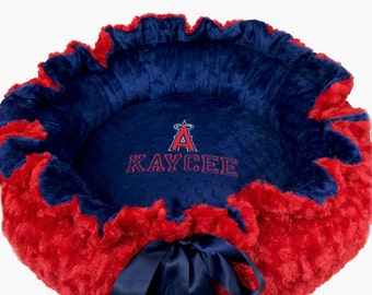 Red and Blue Pet Bed, Red and Blue Angels Baseball Inspired Dog Bed,  Kitty Bed, Personalized Blue Dog Bed