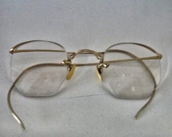 Vintage Wire Frame Eye Glasses Gold Tone 10/12GF 1940s 30s Eye ware Lot no. 20