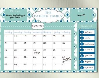 Ikat Dry Erase Family Calendar--Family Calendar, Birthday Gift, Gift for Mom, Family Planner, Dry Erase, DIY Calendar, Printable Calendar