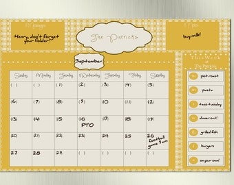 Dry Erase Family Calendar--Personalized with Family Name, Comes with Marker and Magnets, Great for Fridge or Wall, Stay Organized