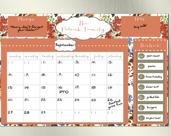 Vintage Inspired Dry Erase Calendar--Family Calendar, Birthday Gift, Gift for Mom, Family Planner, DIY Calendar, Printable Calendar