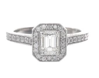 2.68 Carat Emerald Halo Diamond Engagement Ring GIA Certified 18k White Gold