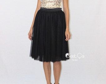 Corinne - Black Tulle Skirt, Soft Tulle Skirt, 4-Layers Everyday Tutu, Adult Tulle Skirt, Plus Size Midi Tulle Skirt, Wholesale