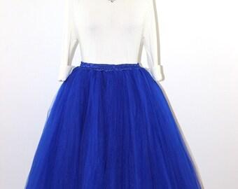 Clarisa - Tulle Skirt, Royal Blue Tulle Skirt, Cobalt Blue Tulle Skirt, 7-Layers Puffy Tutu, Princess Tutu, Adult Tulle Skirt, Midi Tulle