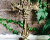 Vintage Spelter Brass Crucifix Brass Alter Cross Catholic Statuary