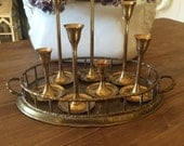 Instant Collection Brass Candleholders Brass Faux Bamboo Tray