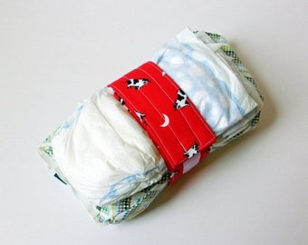 Clearance Vintage Cow Print Diaper Strap - Red Cow Jumped Over the Moon Vintage Fabric